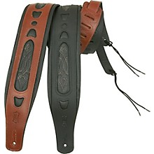 Classic Padded leather guitar strap Walnut