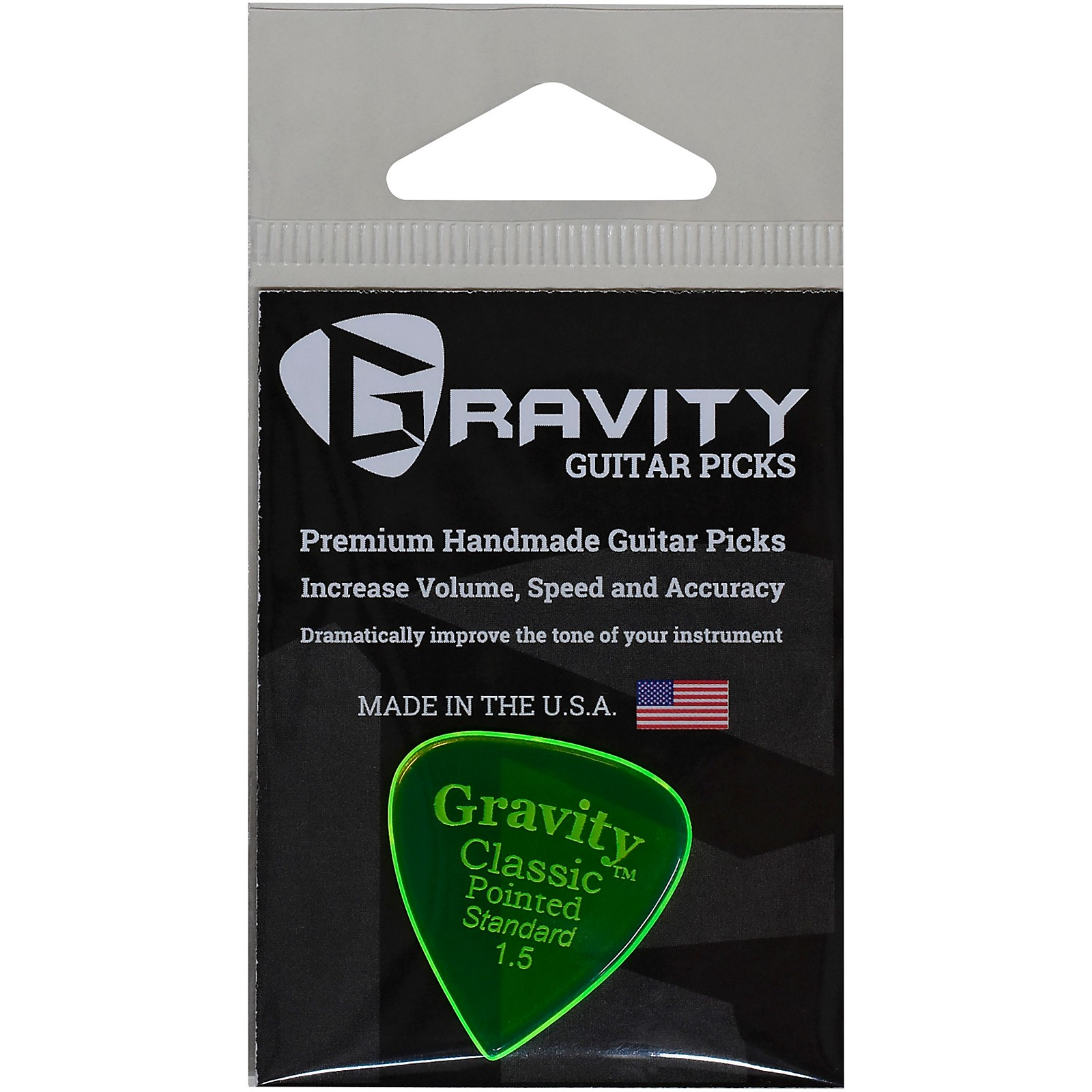 GRAVITY PICKS Classic Pointed Standard Polished Fluorescent Green Guitar Picks