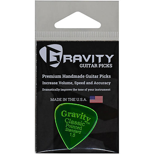 GRAVITY PICKS Classic Pointed Standard Polished Fluorescent Green Guitar Picks 1.5 mm