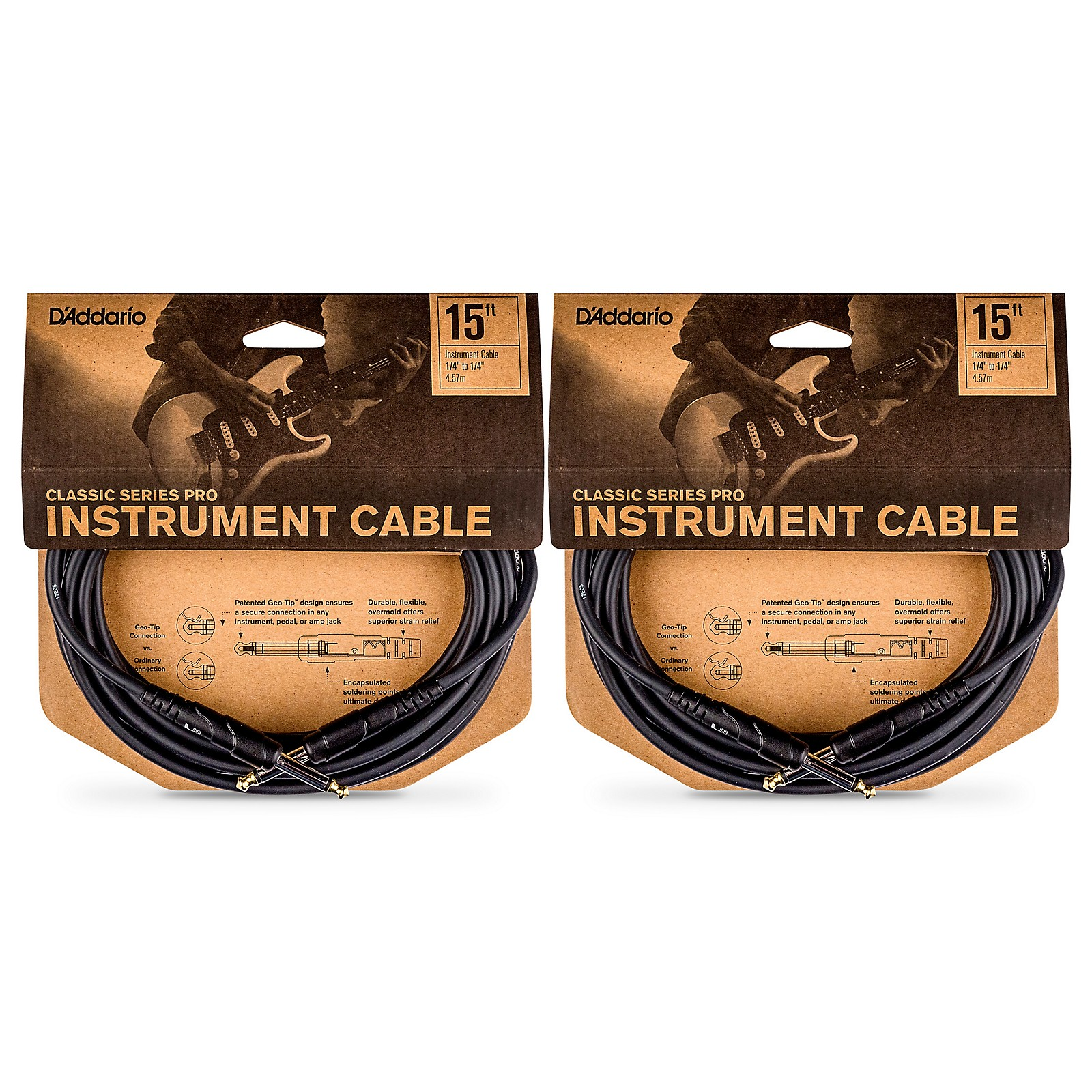 D'Addario Classic Pro Series Instrument Cable - 15 ft. - 2-Pack