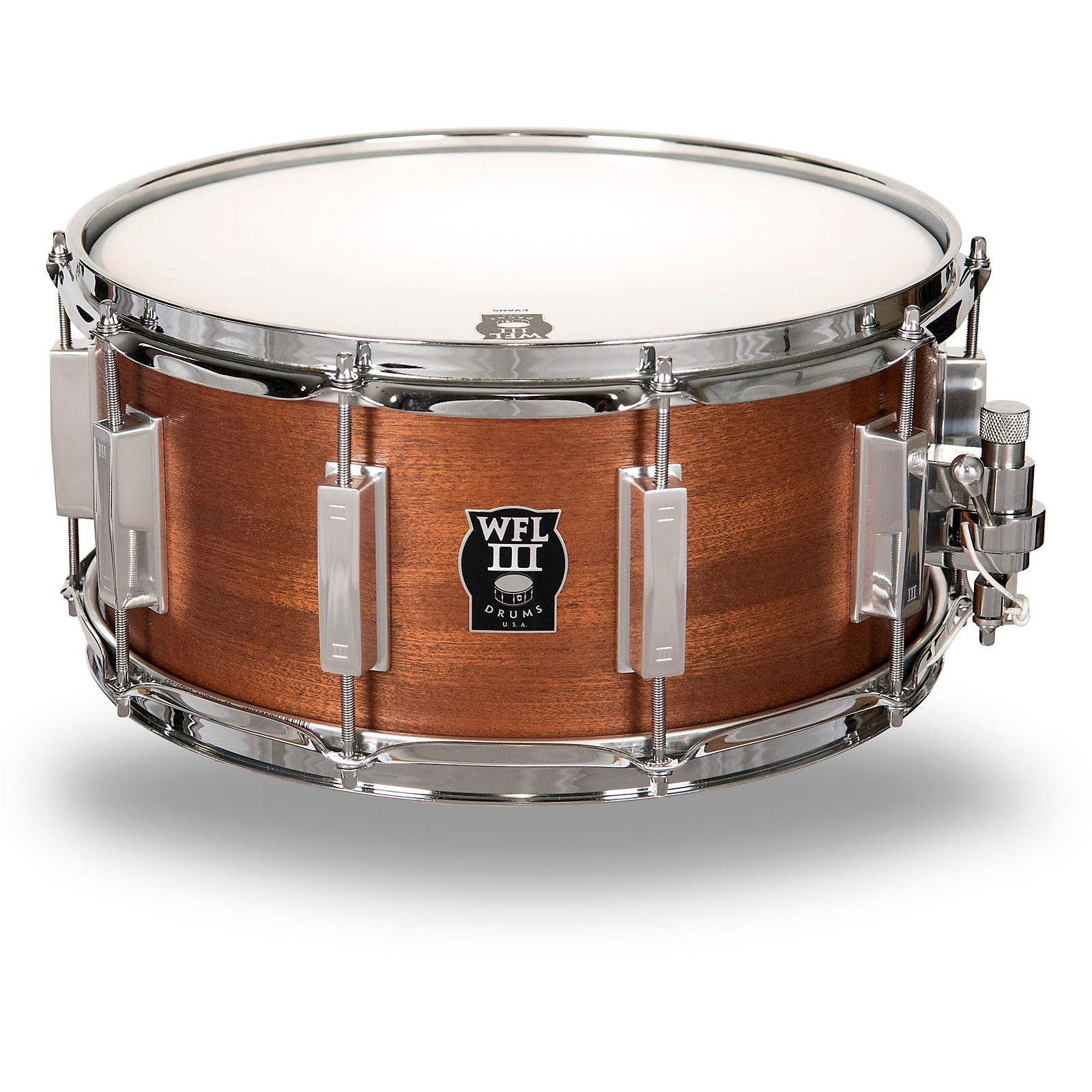WFLIII Drums Classic Wood Mahogany Snare Drum with Chrome Hardware