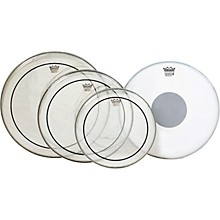 Remo Clear Pinstripe Standard Pro Pack with Free 14 in. Coated Emperor X Reverse Black Dot Snare Drum Head