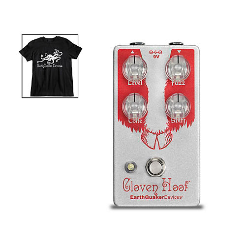 EarthQuaker Devices Cloven Hoof V2 Fuzz Effects Pedal and Octoskull T-Shirt Large Black