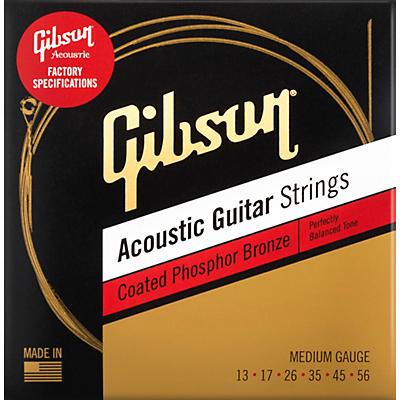Gibson Coated Phosphor Bronze Acoustic Guitar Strings, Medium