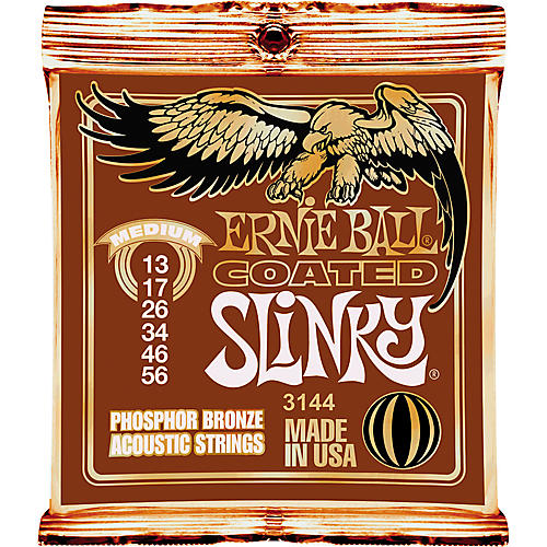 Ernie Ball Coated Slinky Phosphor Bronze Acoustic Strings Medium