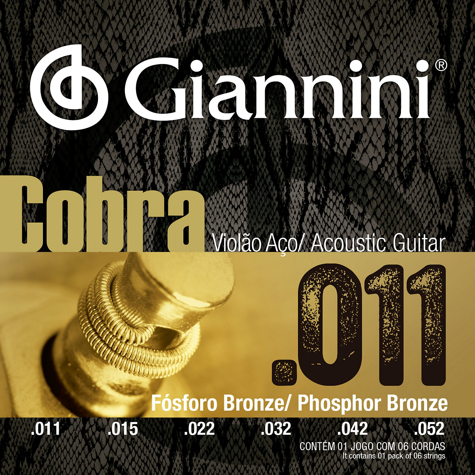 Giannini Cobra Series Phosphor Bronze Custom Light .11-.52 Acoustic Guitar Strings