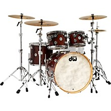 Open Box DW Collector's Series 4-Piece Exotic SSC Shell Pack Natural Lacquer Mahogany Feather with Chrome Hardware