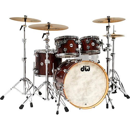 DW Collector's Series 4-Piece Exotic SSC Shell Pack Natural Lacquer Mahogany Feather with Chrome Hardware
