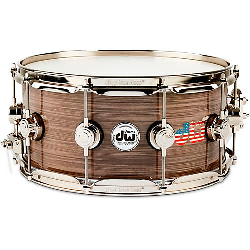 DW Collector's Series American Flag Logo Snare Drum with Nickel Hardware 14 x 6.5 in.