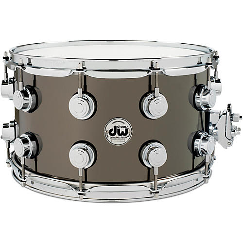 DW Collector's Series Black Nickel Over Brass Metal Snare Drum Restock 14 x 8 in. Black Nickel Over Brass with Chrome Hardware