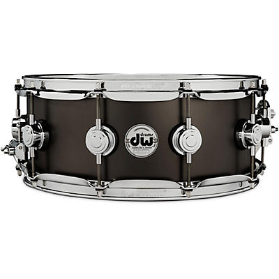 DW Collector's Series Satin Black Over Brass Snare Drum with Chrome Hardware