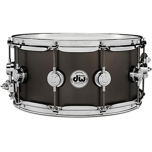 DW Collector's Series Satin Black Over Brass Snare Drum with Chrome Hardware 14 x 6.5 in.