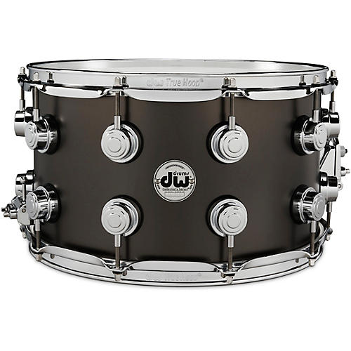 DW Collector's Series Satin Black Over Brass Snare Drum with Chrome Hardware 14 x 8 in.