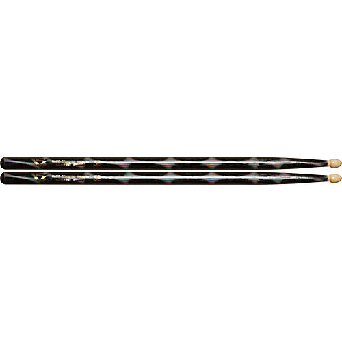 Vater Color Wrap Wood Tip Sticks - Pair 5B Black Optic
