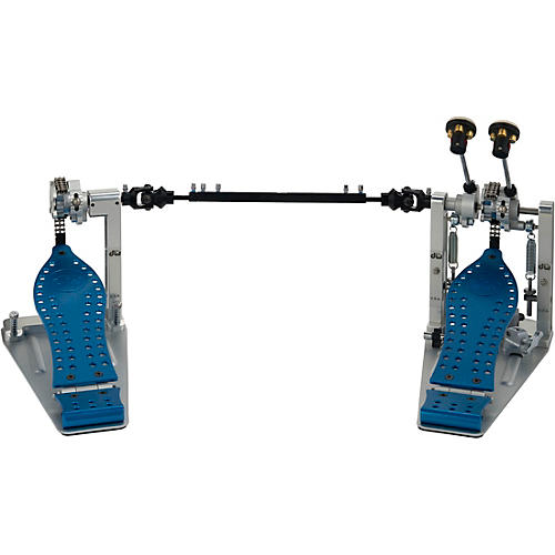 DW Colorboard Machined Chain Drive Double Bass Drum Pedal with Blue Footboard