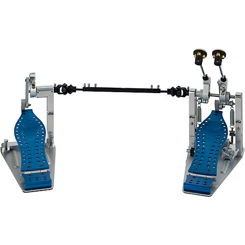 DW Colorboard Machined Direct Drive Double Bass Drum Pedal with Blue Footboard