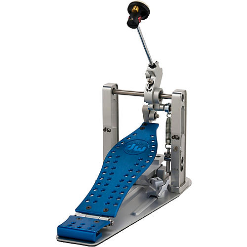 DW Colorboard Machined Direct Drive Single Bass Drum Pedal with Blue Footboard