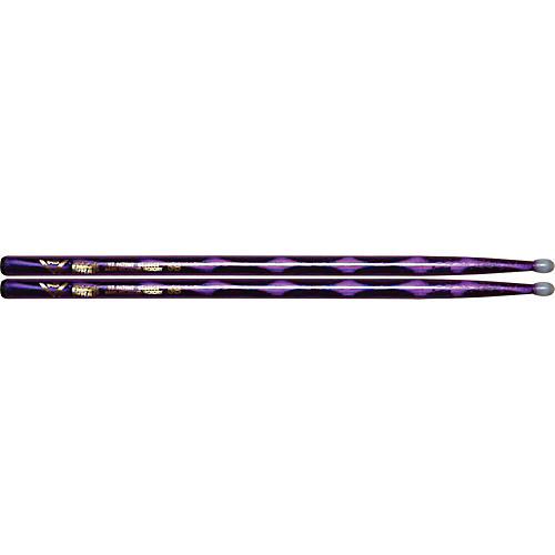 Vater Colorwrap Nylon Tip Sticks - Pair Purple Optic 5B