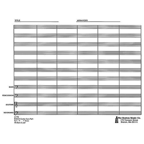 Music Sales Combo Score Pad 11 Stave Music Sales America Series