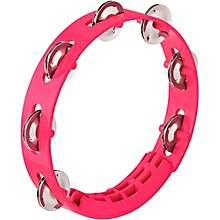 Compact ABS Plastic Handheld Tambourine 8 in. Strawberry Pink