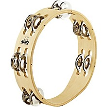 Nino Compact Wood Tambourine with Double Row Nickel Silver Plated Steel Jingles