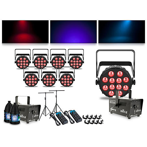 CHAUVET DJ Complete Lighting Package with Four SlimPAR T12 BT, Four SlimPAR Q12 BT and Two Hurricane 700 Fog Machines