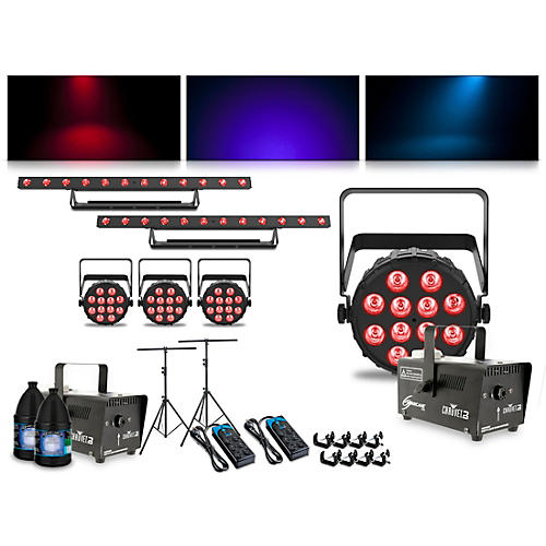 CHAUVET DJ Complete Lighting Package with Four SlimPAR T12 BT, Two ColorBAND T3 BT and Two Hurricane 700 Fog Machine