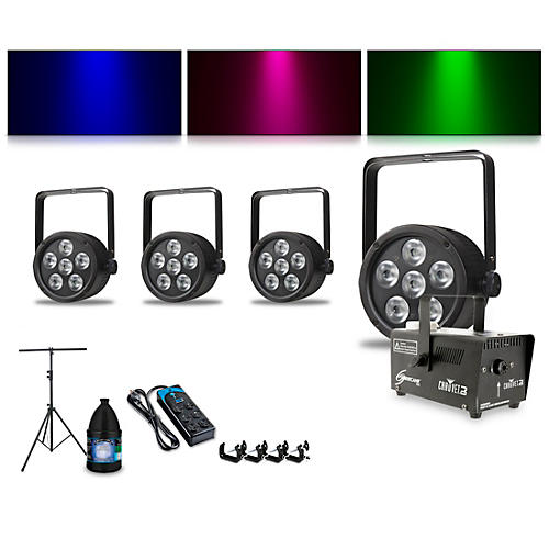 Proline Complete Lighting Package with Four ThinTri 38 and Huricane 700 Fog Machine