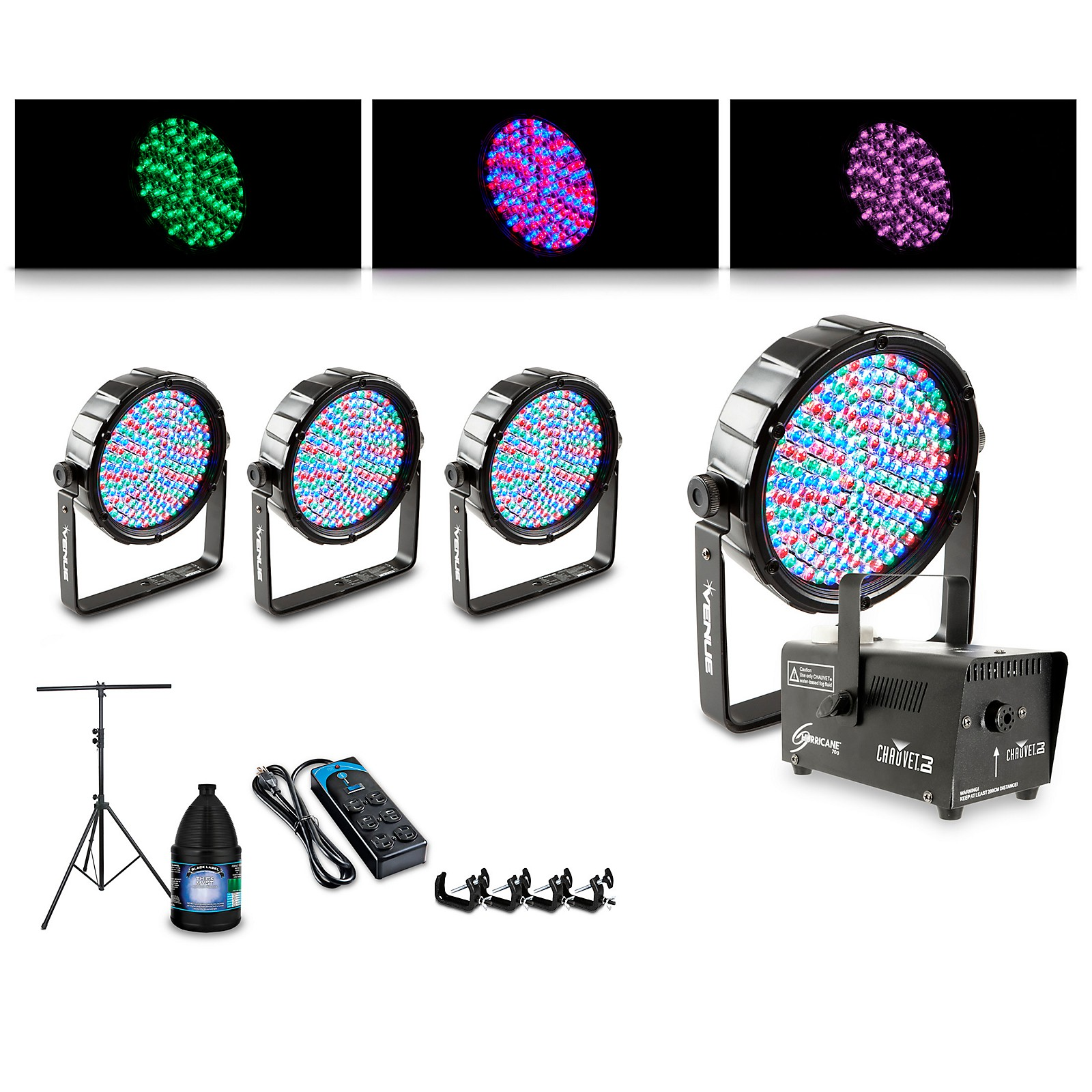 Proline Complete Lighting Package with Four Thinpar64 and Huricane 700 Fog Machine