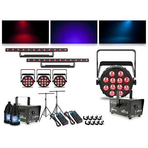 CHAUVET DJ Complete Lighting Package with Two SlimPAR Q12 BT, ColorBAND T3 BT and Hurricane 700 Fog Machine