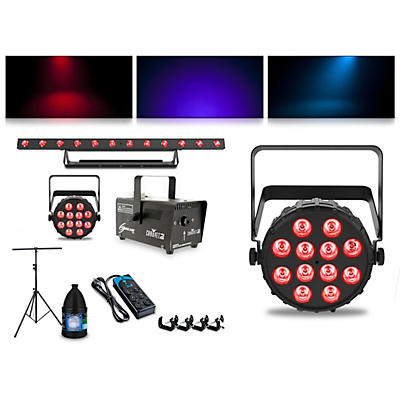 CHAUVET DJ Complete Lighting Package with Two SlimPAR T12 BT, ColorBAND T3 BT and Hurricane 700 Fog Machine