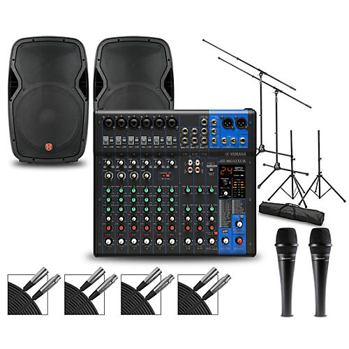 Yamaha Complete PA Package with MG12XUK Mixer and Harbinger VaRi V1000 Speakers