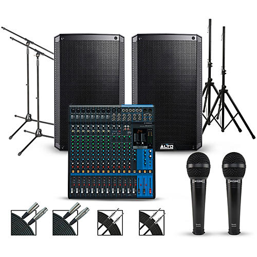 Complete PA Package with Yamaha MG16XU 16-channel Mixer and Alto Truesonic 2 Series Active Speakers