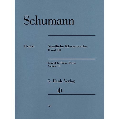 G. Henle Verlag Complete Piano Works - Volume 3 Henle Music Softcover by Robert Schumann Edited by Ernst Herttrich