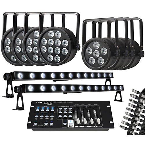 Proline Complete RGB LED Lighting Package with ThinTri64, ThinTri38, TriStrip 3Z and DMX Cables