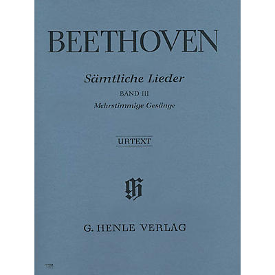 G. Henle Verlag Complete Songs for Voice and Piano - Vol III Henle Music Softcover by Beethoven Edited by Helga Lühning