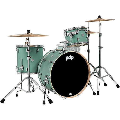PDP by DW Concept Maple 3-Piece Rock Shell Pack with Chrome Hardware Satin Seafoam