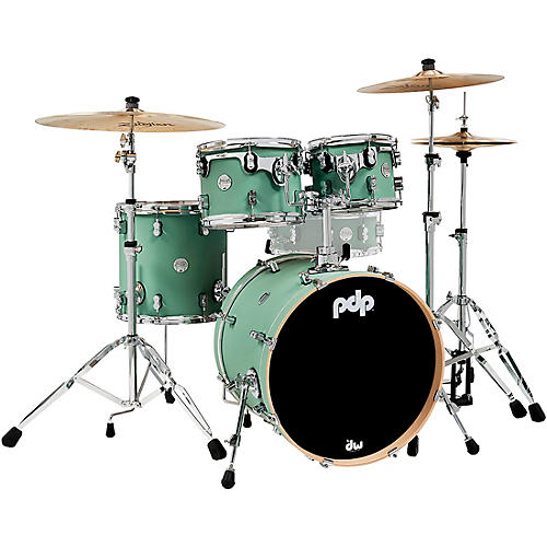 PDP by DW Concept Maple 4-Piece Fusion Shell Pack with Chrome Hardware Satin Seafoam