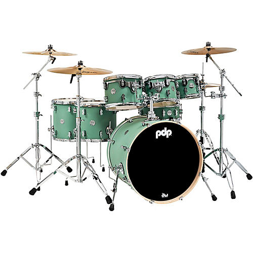 PDP by DW Concept Maple 7-Piece Shell Pack with Chrome Hardware Satin Seafoam
