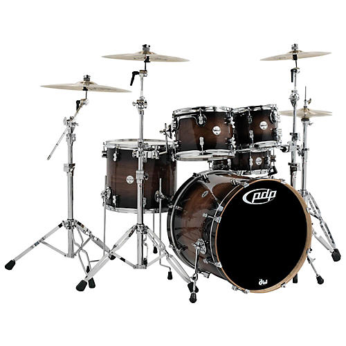 PDP by DW Concept Maple Exotic Series 5-Piece Shell Pack Walnut to Charcoal Burst