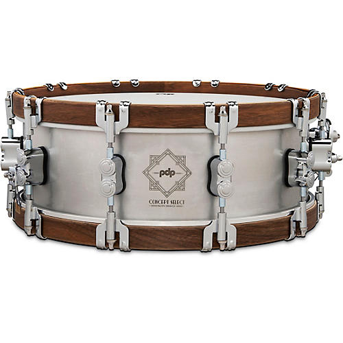 PDP by DW Concept Select Aluminum Snare Drum With Walnut Hoops 14 x 5 in. Aluminum