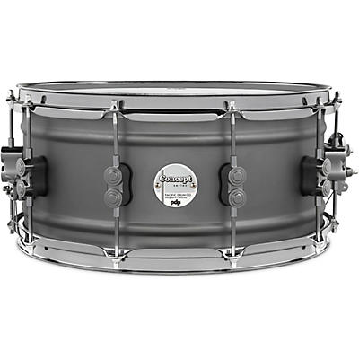 PDP by DW Concept Series Gun Metal Over Steel Snare Drum with Black Nickel Hardware