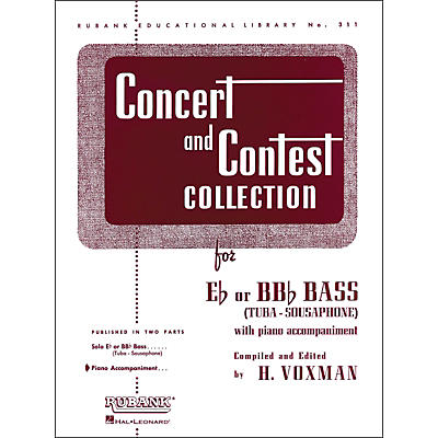 Hal Leonard Concert And Contest Collection for E Flat Or Bb Flat Bass (Tuba) Piano Accompaniment Only