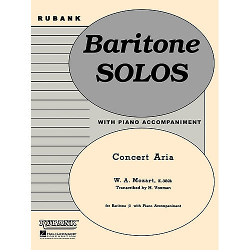 Rubank Publications Concert Aria, K. 382h (Baritone B.C. Solo with Piano - Grade 3.5) Rubank Solo/Ensemble Sheet Series