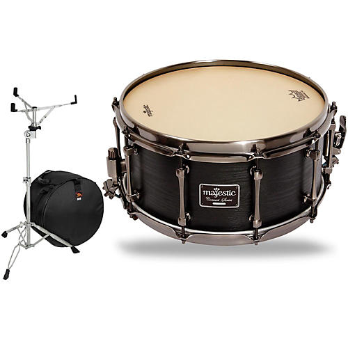 Concert Black Maple Snare Drum with Stand and Free Bag