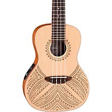 Open Box Luna Guitars Concert Solid Spruce Top Tapa Design Acoustic Electric Ukulele