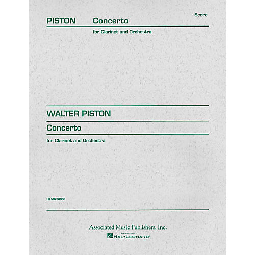 Associated Concerto (1967) (Full Score) Study Score Series Composed by Walter Piston