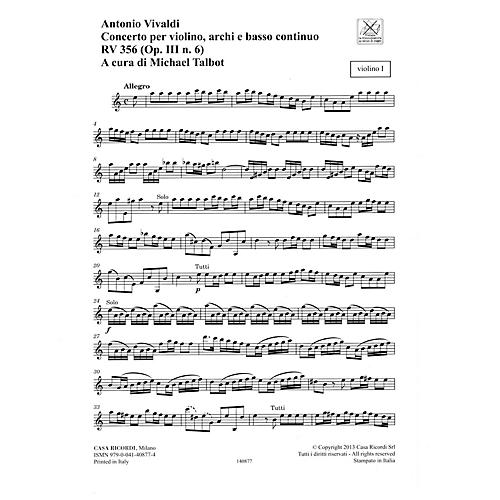 Ricordi Concerto A Minor, RV 356, Op. III, No. 6 String Orchestra Series Softcover Composed by Antonio Vivaldi