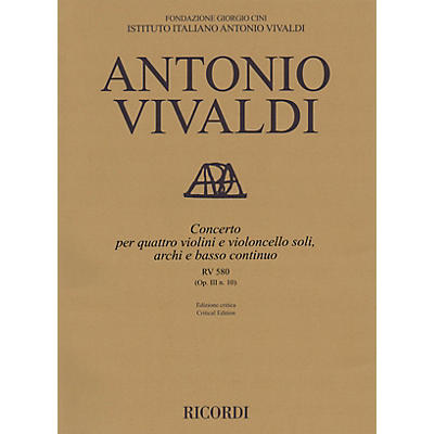 Ricordi Concerto B Minor RV 580, Op. III No. 10 String Orchestra Series Softcover Composed by Antonio Vivaldi