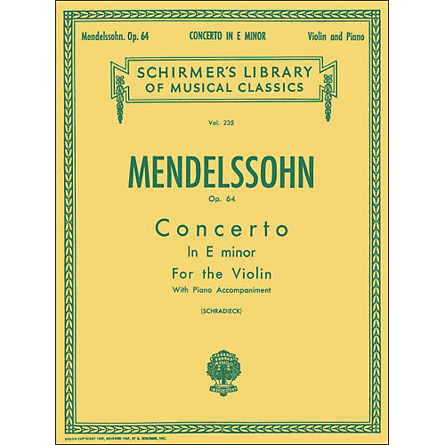 G. Schirmer Concerto E Minor Op 64 Violin Piano By Mendelssohn